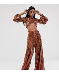 ASOS Snake Print Burn Out Stripe Trouser Co-ord - Brown