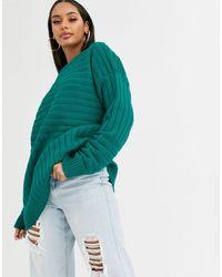 Missguided Rib Longline Sweater - Green