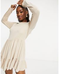 Missguided Long Sleeve Smock Dress With Frill Hem - Natural