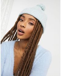 Pieces Ribbed Beanie Hat With Bobble - Blue