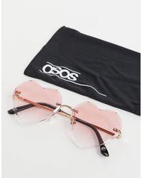ASOS Солнцезащитные Очки В Форме Сердец С Розовыми Линзами - Розовый