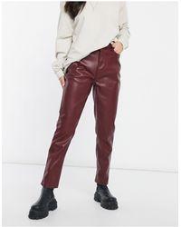 Urban Bliss Pantalon coupe droite en imitation cuir - bordeaux - Rouge