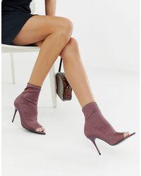 ASOS Botas estilo calcetín en violeta con puntera abierta y tacón - Morado
