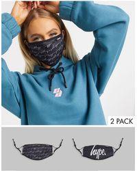 Hype Esclusiva - Confezione da 2 mascherine con laccetti regolabili nere - Nero