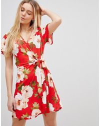 Girls On Film - Wrap Dress In Large Floral Print - Lyst