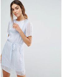 Pieces - Elja Sheer Tie Waist Dress - Lyst