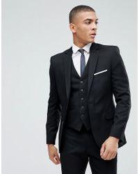 Moss Bros Moss London Skinny Suit Jacket In Black