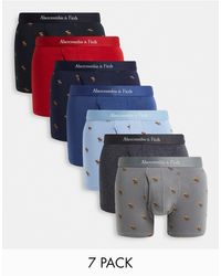 Abercrombie & Fitch 7 Pack Trunks With All Over Logo - Blue