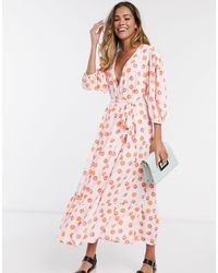 Glamorous Midaxi Dress With Wrap Front And Tiered Skirt - Pink