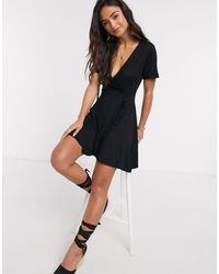 Pull&Bear Wrap Front Dress With Frill - Black