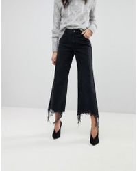 DL1961 - Hepburn Crop Wide Leg Jean With Raw Hem - Lyst