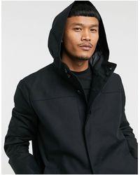 ASOS Shower Resistant Hooded Trench Coat - Black