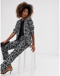 Vila Floral Suit Trousers - Black