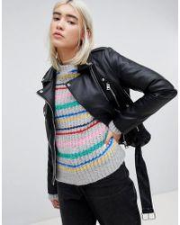 Pull&Bear - Leather Look Biker Jacket - Lyst