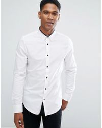 Threadbare | Premium Contrast Tipped Slim Fit Shirt | Lyst