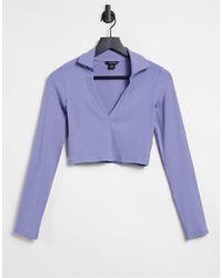 Monki Freddie - Chemise courte en jersey - Bleu