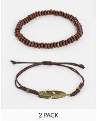 ASOS 2 Pack Beaded Bracelet - Black