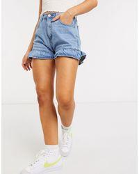 Glamorous Frill Hem Denim Shorts - Blue