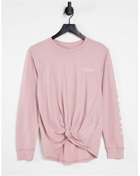 Abercrombie & Fitch Long Sleeve Tie Front Sweat - Pink