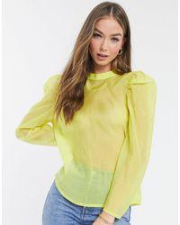 Vero Moda Желтая Блузка Из Органзы С Бантом-завязкой На Спине -желтый