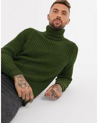 ASOS Heavyweight Fisherman Rib Roll Neck Sweater - Green