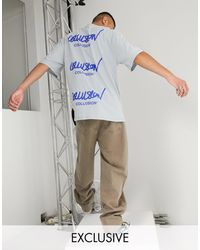 Collusion Oversized T-shirt With Logo Print - Grey