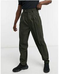ASOS Pantalon habillé ajusté à taille haute en laine mélangée avec carreaux ton sur ton - Multicolore