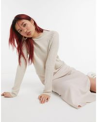 River Island Satin Sweater Hybrid Midi Dress - Natural
