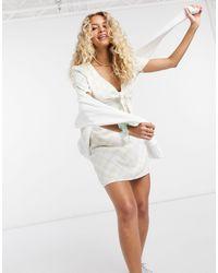 Glamorous Mini Dress With Tie Front - White