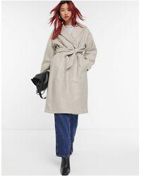 Vero Moda Серое Классическое Пальто С Поясом На Талии -бежевый - Естественный