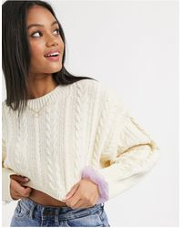 Stradivarius Cable Knit Crop Sweater - Multicolor