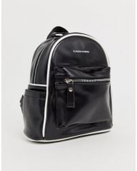 Claudia Canova Mouvement Black Backpack With White Piping