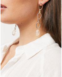 Warehouse Boucles d'oreilles chaîne et pendentif perle - Orange