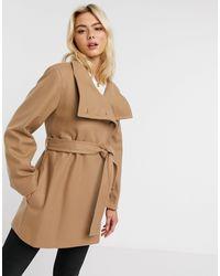 French Connection Бежевое Пальто Из Ткани На Основе Шерсти С Поясом И Высоким Воротом -коричневый Цвет