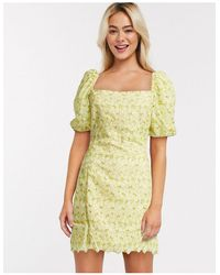 Object Broderie Milkmaid Mini Dress With Puff Sleeves - Green