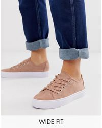 ASOS Wide Fit Dusty Lace Up Trainers - Natural