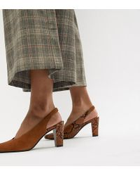 Mango Suede Ankle Snake Effect Pumps In Rust - Red