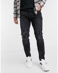 Pull&Bear Super Skinny Jeans With Knee Rips - Black