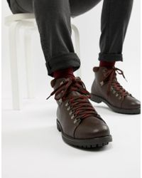 Truffle Collection Hiker Lace Up Boot With Contrast Laces In Brown