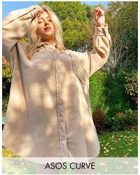 ASOS ASOS DESIGN Curve – Mini-Hemdkleid aus Fleece - Grün