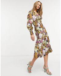 Y.A.S Vestido midi con estampado floral, escote cuadrado y cuerpo fruncido - Multicolor