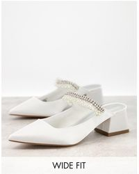 ASOS Wide Fit – Webster – Verzierte Mules - Weiß