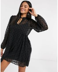 Stradivarius Polka Dot Smock Dress - Black