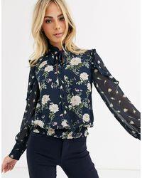 Oasis Sa a fiori con fiocco morbido sul collo - Blu