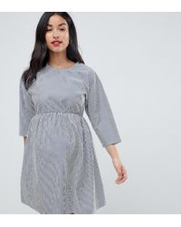 ASOS - Asos Design Maternity Striped Mini Smock Dress - Lyst