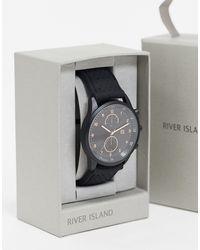 River Island Черные Мужские Часы С Силиконовым Ремешком -черный