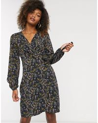 Vero Moda Floral Wrap Dress-multi - Black