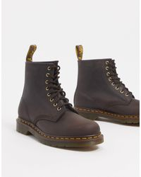 Dr. Martens Bottes lacees bourgogne Made In England 1460 - Marron