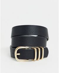 Pieces - Gold Buckle Belt In Black - Lyst