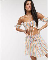 South Beach Bardot Crop And Shirred Mini Skirt Set - Multicolour